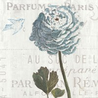 Floral Messages on Wood I Blue Fine-Art Print
