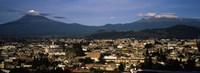 Aerial view of a city a with mountain range in the background, Popocatepetl Volcano, Cholula, Puebla State, Mexico Fine-Art Print