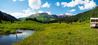 Man camping along Slate River, Crested Butte, Gunnison County, Colorado, USA Fine-Art Print