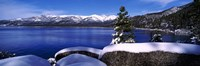 Lake with a snowcapped mountain range in the background, Sand Harbor, Lake Tahoe, California, USA Fine-Art Print