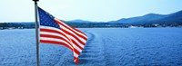 Flag and view from the Minne Ha Ha Steamboat, Lake George, New York State, USA Fine-Art Print