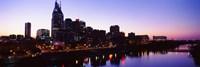 Skylines at dusk along Cumberland River, Nashville, Tennessee, USA 2013 Fine-Art Print