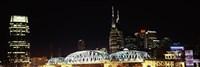 Skylines and Shelby Street Bridge at night, Nashville, Tennessee Fine-Art Print