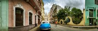Car in a street with a government building in the background, El Capitolio, Havana, Cuba Fine-Art Print