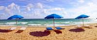 Lounge chairs and beach umbrellas on the beach, Fort Lauderdale Beach, Florida, USA Fine-Art Print
