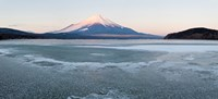 Yamanaka Lake covered with ice and Mt Fuji in the background, Yamanakako, Yamanashi Prefecture, Japan Fine-Art Print