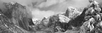 Black and white view of Mountains and waterfall in snow, El Capitan, Yosemite National Park, California Fine-Art Print