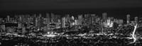 High angle view of a city lit up at night, Honolulu, Oahu, Honolulu County, Hawaii (black and white) Fine-Art Print