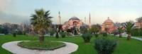 Formal garden in front of a church, Aya Sofya, Istanbul, Turkey Fine-Art Print