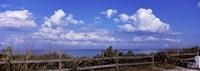 Fence on the beach, Tampa Bay, Gulf Of Mexico, Anna Maria Island, Manatee County, Florida, USA Fine-Art Print