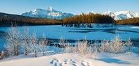 Frozen river with mountain range in the background, Mt Fryatt, Athabaska River, Jasper National Park, Alberta, Canada Fine-Art Print