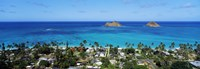 High angle view of a town at waterfront, Lanikai, Oahu, Hawaii, USA Fine-Art Print