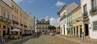 Sidewalk cafes on a street in Pelourinho, Salvador, Bahia, Brazil Fine-Art Print