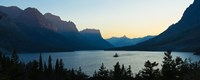 Sunset over St. Mary Lake with Wild Goose Island, US Glacier National Park, Montana, USA Fine-Art Print