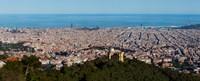 Aerial View of Barcelona and Mediterranean, Spain Fine-Art Print