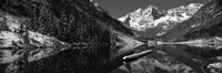 Reflection of a mountain in a lake in black and white, Maroon Bells, Aspen, Colorado Fine-Art Print