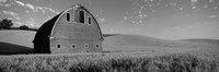 Black and White view of Old barn in a wheat field, Washington State Fine-Art Print