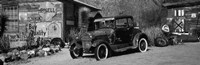 Abandoned vintage car at the roadside, Route 66, Arizona (black and white) Fine-Art Print