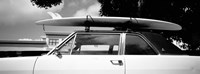 California, Surf board on roof of car (black and white) Fine-Art Print