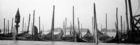 Gondolas moored at a harbor, San Marco Giardinetti, Venice, Italy (black and white) Fine-Art Print
