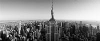 Aerial view of a cityscape, Empire State Building, Manhattan, New York City, USA (black & white) Fine-Art Print