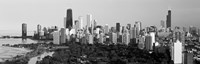 Skyline with Hancock Building and Sears Tower, Chicago, Illinois (black & white) Fine-Art Print