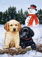 Lab Puppies With Snowman Fine-Art Print