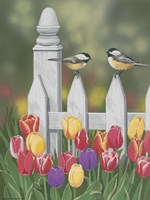 Chickadees And Tulips Fine-Art Print