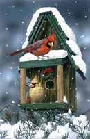 Cardinals And Birdhouse In Snow Fine-Art Print