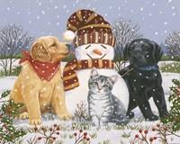 Snowboy with Little Friends Fine-Art Print