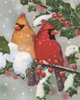 Cardinal Couple With Holly Fine-Art Print
