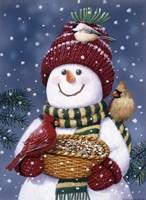 Snowman Feeding Birds Fine-Art Print