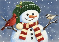 Snowman With Cardinal And Chickadee Fine-Art Print
