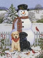 Backyard Snowman with Friends Fine-Art Print