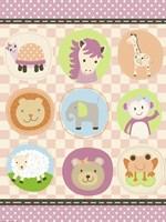 Baby Girl Animal Friends Fine-Art Print