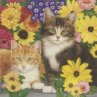 Kitties And Flowers Fine-Art Print