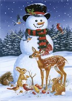 Snowman With Friends Fine-Art Print