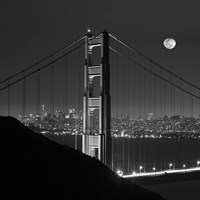 Golden Gate and Moon BW Fine-Art Print