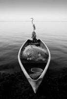 Canoe And A Heron Fine-Art Print