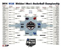 University of Connecticut Huskies 2014 NCAA Men's College Basketball National Champions Bracket Fine-Art Print