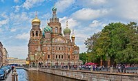 Church in a city, Church Of The Savior On Blood, St. Petersburg, Russia Fine-Art Print