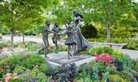 Bronze statue of mother and children, Temple Square, Salt Lake City, Utah, USA Fine-Art Print