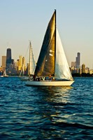 Sailboat in a lake, Lake Michigan, Chicago, Cook County, Illinois, USA Fine-Art Print