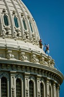 Workers on a government building dome, State Capitol Building, Washington DC, USA Fine-Art Print
