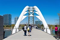 People strolling on Humber Bay Arch Bridge, Toronto, Ontario, Canada Fine-Art Print