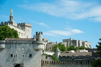 Low angle view of city walls, Pont Saint-Benezet, Rhone River, Avignon, Vaucluse, Provence-Alpes-Cote d'Azur, France Fine-Art Print