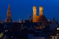 Town hall with a church at night, Munich Cathedral, New Town Hall, Munich, Bavaria, Germany Fine-Art Print