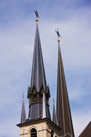 Low angle view of spires of the Notre Dame Cathedral, Luxembourg City, Luxembourg Fine-Art Print