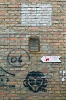 Art and signs painted on a brick wall, Dashanzi Art District, Dashanzi, Chaoyang District, Beijing, China Fine-Art Print