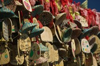 Buddhist prayer wishes (Ema) hanging at a shrine on a tree, Old Town, Lijiang, Yunnan Province, China Fine-Art Print